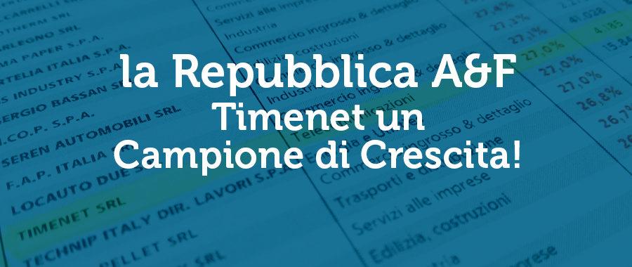 la Repubblica inserisce Timenet tra i Campioni della Crescita 2020
